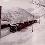 Roterande snøplog skyvd av tre damplokomotiver ved Mjølfjell stasjon (1908)